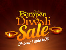Diwali Sale Flyer or Banner. Bumper Diwali Sale Flyer, Special Offer Background, Clearance Poster, Discount Upto 60% Off, Vector illustration with stylized Lit Royalty Free Stock Image