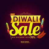 Diwali Sale Flyer or Banner. Diwali Super Sale Flyer, Bumper Dhamaka Poster, Clearance Offer Banner, Discount Upto 70% with glowing Firecrackers, Vector Royalty Free Stock Photos