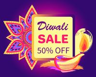 Diwali Sale -50 off Sign Vector Illustration. Diwali sale -50 off sign with festive candle and mandala on bright purple background. Vector illustration with Stock Photo