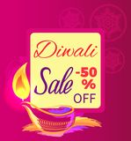 Diwali Sale -50 off Sign Vector Illustration. Diwali sale -50 off sign with festive candle on bright pink background. Vector illustration with discount dedicated Royalty Free Stock Photography