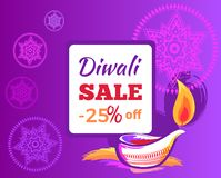 Diwali Sale -25 off Sign Vector Illustration. Diwali sale -25 off sign with festive candle on purple background with mandalas. Vector illustration with discount Royalty Free Stock Images