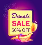 Diwali Sale -50 off Sign Vector Illustration. Diwali sale -50 off sign with festive candle text in frame with burning lamp. Vector illustration with discount Stock Photo