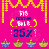 Diwali Sale Poster or Banner. Big Festive Diwali Sale Poster, Clearance Offer Flyer, Bumper Dhamaka Sale Banner, Discount Upto 35% Off, Vector illustration with Royalty Free Stock Photos