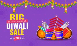 Diwali sale poster or banner design with 70% discount offer and. Firecrackers on purple background for Indian festival celebration concept Royalty Free Illustration