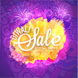 Diwali Sale poster, banner or flyer design. Creative poster, banner or flyer of Diwali Sale with Special Offer on floral design and firecrackers decorated Stock Photos