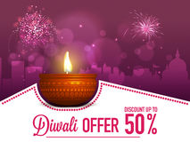Diwali Sale Poster, Banner or Flyer design. Diwali Offer Flyer, Creative Sale Banner, Special Discount Poster, Upto 50% Off, Beautiful festive background with Royalty Free Stock Photography