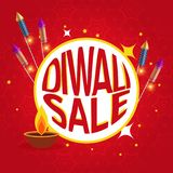 Diwali sale poster with festival crackers and diya. Vector Royalty Free Stock Photos
