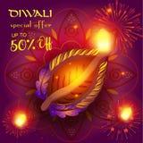 Diwali sale. Prosperous banner burning diya - oil lamp traditional Indian symbol happy Diwali Holiday Sale discount text promotion advert fireworks mandala Royalty Free Stock Photography
