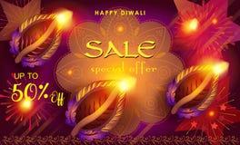 Diwali sale. Prosperous banner burning diya - oil lamp traditional Indian symbol happy Diwali Holiday Sale discount text promotion advert fireworks mandala Royalty Free Stock Photos