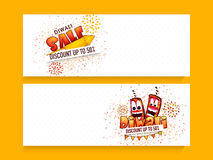Diwali sale web header or banner set. Creative website header or banner set of sale with 50% discount offer and space for your text on occasion of Indian Stock Photos