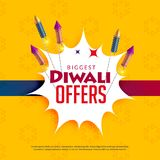 Diwali sale yellow background with crackers Royalty Free Stock Images