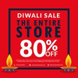 Diwali season sale banner discount and deals with two diya Royalty Free Stock Photos