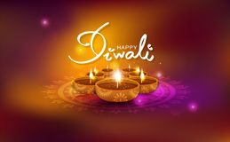 Diwali skinande beröm för guld- ljus gnistrande, oljalampa med fl royaltyfri illustrationer