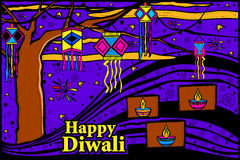 Diwali sky lamp in Indian art style Stock Images