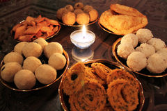 Diwali spread. Sweets and savory items prepared during Diwali, an Indian festival royalty free stock photo
