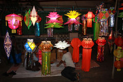 Diwali Street Shop. A boy sits in his street shop selling lanterns on occassion of Diwali festival in India Stock Images