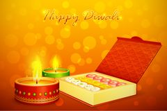 Diwali Sweet. Vector illustration of sweet with decorated diya for Diwali Stock Image