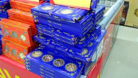 Diwali Sweets Packets in Super Market stock image