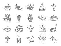 Diwali symbolsuppsättning Inklusive symboler som Deepavali firar, den ljusa festivalen, stearinljuset, lampan, hinduisk beröm, hi vektor illustrationer