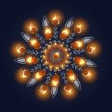 Diwali szczęśliwy tło Płonąca świeczka na ciemnym tle ilustracja wektor