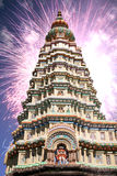 Diwali Temple. Fireworks exploding behind a hindu temple on the occassion of Diwali festival in India, appearing like divine energies