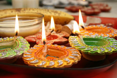 Diwali thali with decorated diya royalty free stock photo