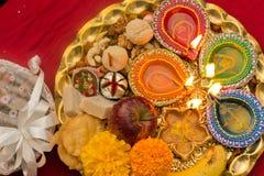 Decorated Diwali Tray Stock Photos