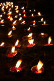 Diwali Tradition. Wax lamps traditionally lit in an abstract pattern on the occasion of Diwali festival in India