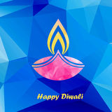 Diwali traditional festive lamp. Happy diwali traditional festive lamp symbol colorful low polygonal style vector illustration Stock Images