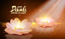 diwali Vecteur Festival de fond de lumière Fond de salutation avec le lotus rose et une bougie brûlante à l'intérieur Image stock