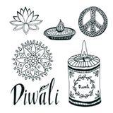 Diwali vector collection. Lotus, rangoli, diya and Stock Photo