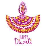 Diwali vector illustration. Indian festival of lights. Diwali vector illustration with hand and diya lamp. Indian festival of lights Stock Photography