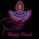 Diwali vector illustration. Indian festival of lights. Diwali vector illustration with hand and diya lamp. Indian festival of lights Stock Images