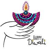 Diwali vector illustration. Indian festival of lights. Diwali vector illustration with hand and diya lamp. Indian festival of lights Royalty Free Stock Images