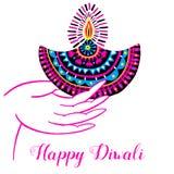 Diwali vector illustration. Indian festival of lights. Diwali vector illustration with hand and diya lamp. Indian festival of lights Royalty Free Stock Photo