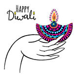 Diwali vector illustration. Indian festival of lights. Diwali vector illustration with hand and diya lamp. Indian festival of lights Stock Photos