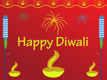 Diwali wishes. Happy Diwali greetings with red background Stock Images