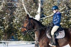 Dix ans de fille montant un cheval en hiver Images stock