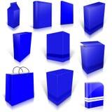 Dix boîtes vides bleues d'isolement sur le blanc Images stock