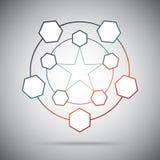 Dix cellules reliées dans un pentagone étoilé Photo libre de droits