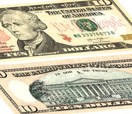 Dix dollars d'Etats-Unis L'avant et le verso photo libre de droits