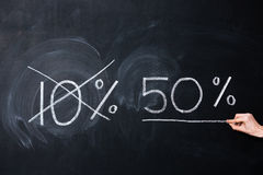 Dix et cinquante pour cent dessinés sur le tableau noir Photos stock
