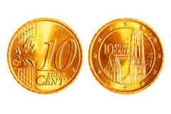 Dix euro pièces de monnaie de cents Photos stock