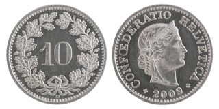 Dix francs de pièce de monnaie Photos libres de droits