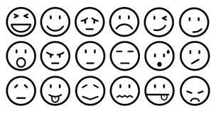 Dix-huit smilies, ont placé l'émotion souriante, par des smilies, des émoticônes de bande dessinée - vecteur illustration de vecteur