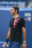 Dix-neuf champions Roger Federer de Grand Chelem de périodes de la Suisse pratiquent pour l'US Open 2017 Images libres de droits