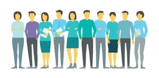 Dix personnes dans la ligne Person d'équipe d'affaires de groupe Illustration courante de vecteur illustration libre de droits