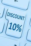 10% dix pour cent de remise de bouton de bon de vente d'inte en ligne d'achats Images libres de droits