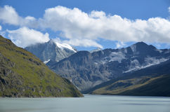 Dixence Lake and Mont Blanc de Cheillon Stock Photography