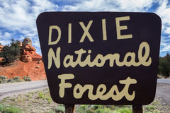 Dixie National Forest sign at Red Canyon, Utah Royalty Free Stock Images
